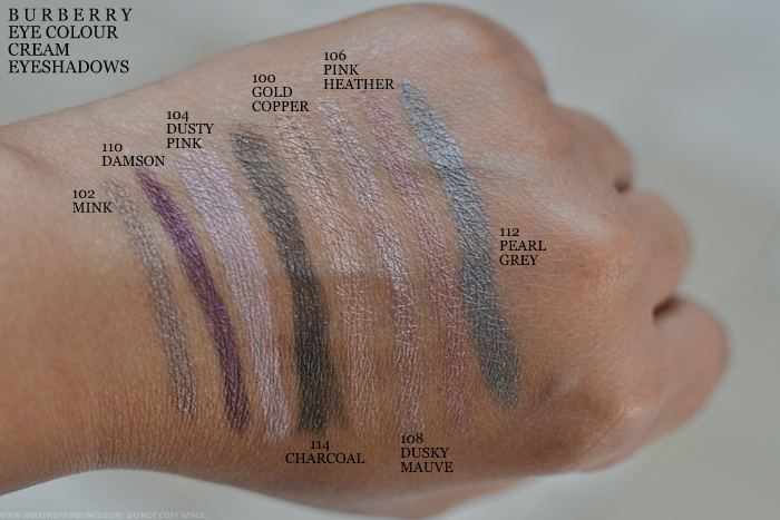 Burberry Beauty Makeup Eye Colour Cream Eyeshadows Swatches 102 Mink 110 Damson 104 Dusty Pink 114 Charcoal 100 Gold Copper 108 Dusky Mauve 106 Pink Heather 112 Pearl Grey