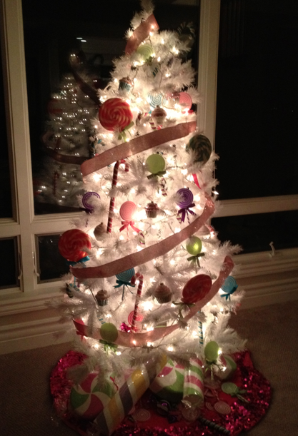and alani pretended she was a present under the tree ha ha ha ha ha - Candyland Christmas Tree Decorations
