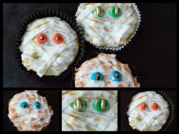 Mummie Halloween cupcakes