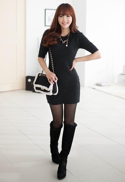 Rib Knit Bodycon Dress by 2fb