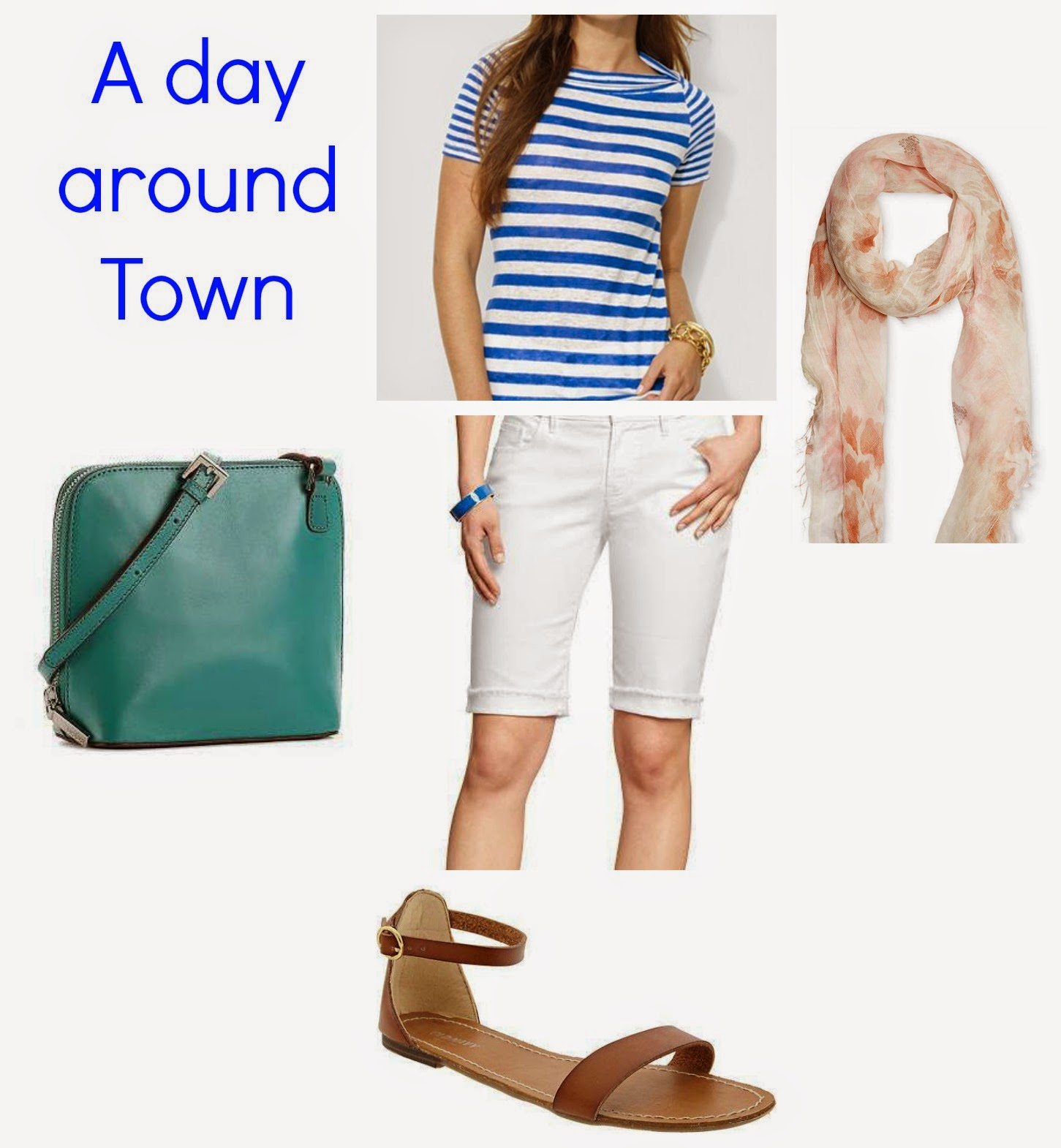 Bermuda shorts white, old navy, summer scarf, green cross body