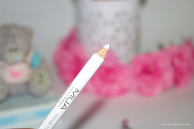 MUA Intense Colour Eyeliner Pencil in Snow White Review, White eyeliner pencil