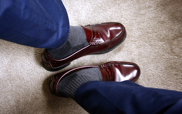 penny loafers and pants