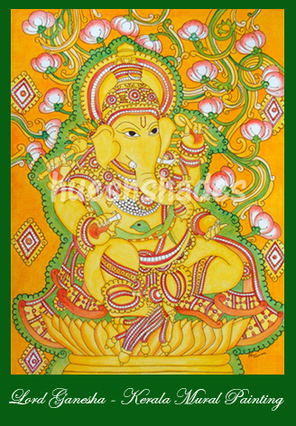 Hues n shades lord ganesha kerala mural for Mural ganesha