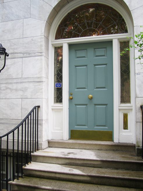 Front doors on the upper east side made by girl Gray front door meaning