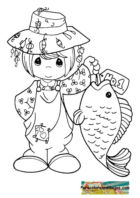 Pescando un gran pez para colorear