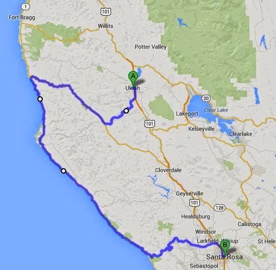 Map of route from Ukiah to Santa Rosa via CA 1