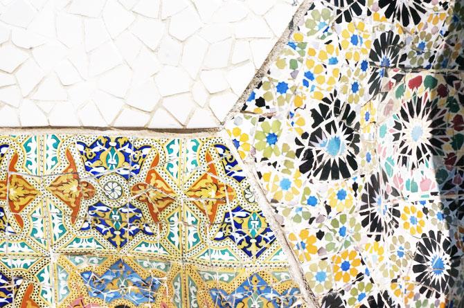 mosaïques de Gaudi au parc Guell