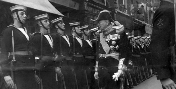 Able Seaman Waller (far left) at a Royal Navy inspection by Winston Churchill at Dover in 1946