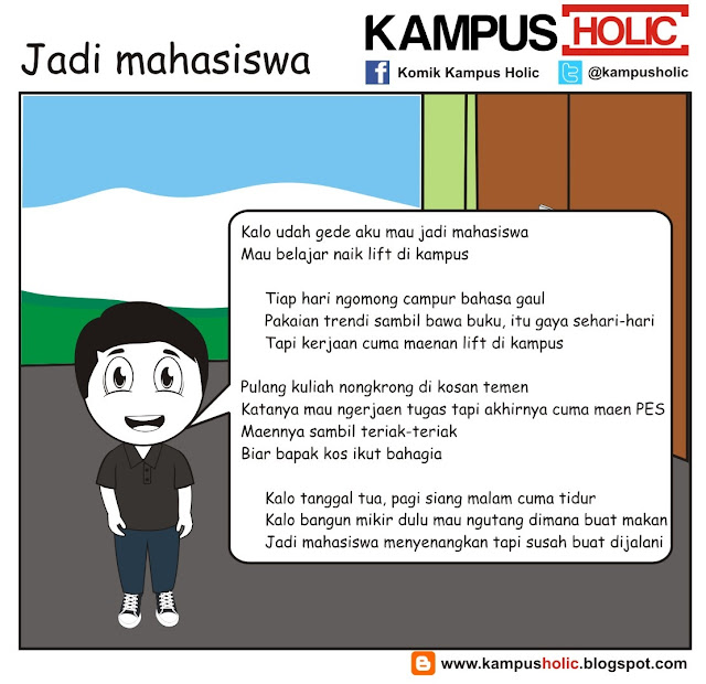 #199 Jadi mahasiswa, plesetan iklan indie 3.. ala komik kampus holic