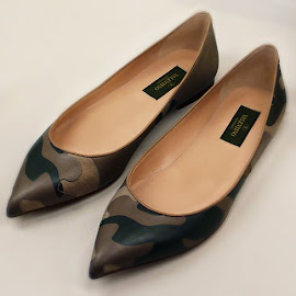 Valentino Camo pointy flats at Intermix.