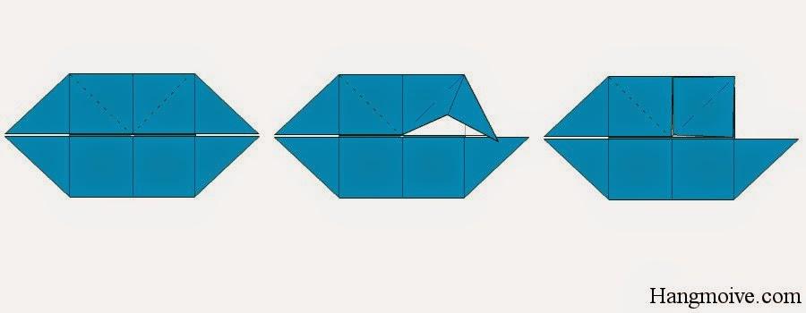 Bước 9: Ta gấp mép ngoài cùng bên phải của hình dưới sao cho đỉnh nó chạm vào tâm hình chữ nhật ta sẽ được một hình vuông con ở giữa.