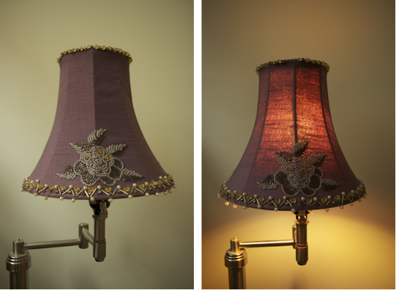 For sale by marci purple rose beaded lamp shade for Purple beaded lamp shade