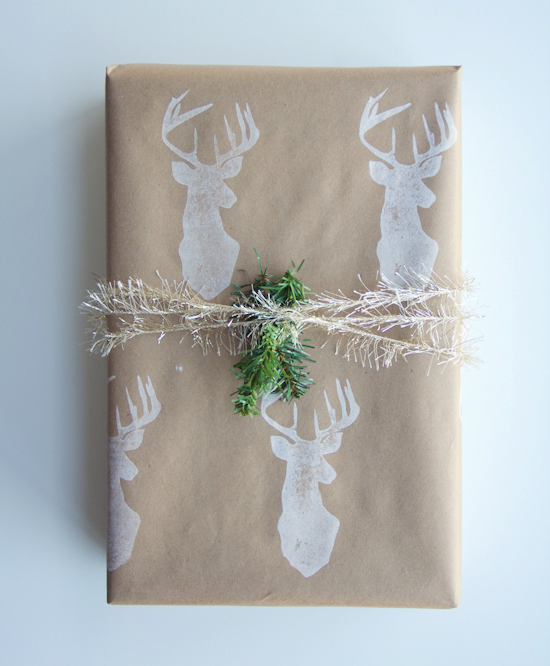 stamped stag gift wrap