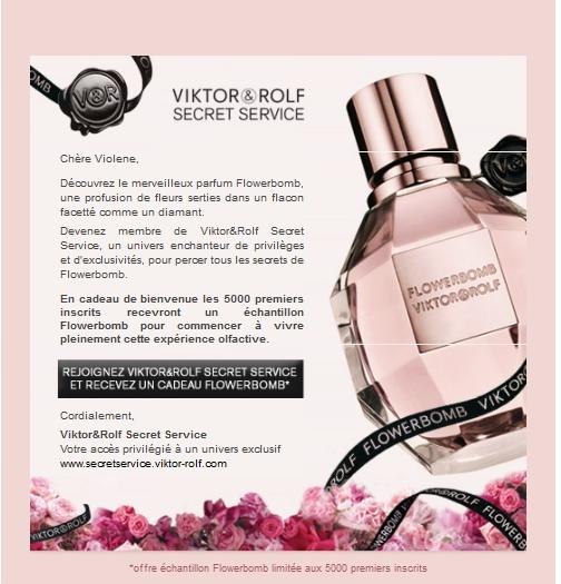 Inscrivez-vous sur le site Viktor&Rolf et recevez en cadeau un échantillon gratuit du parfum Flowerbomb de Viktor&Rolf. bon plan echantillage gratuit bon plan parfum gratuit