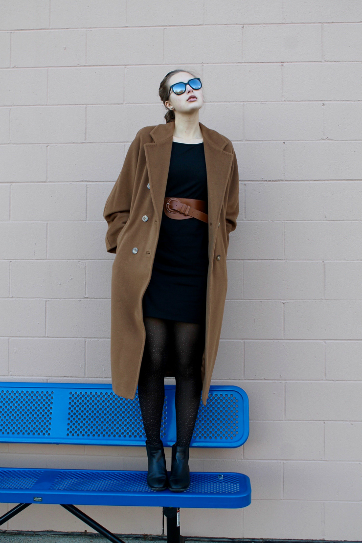 Camel Max Mara winter coat, LBD, sparkle tights and leather Chelsea booties