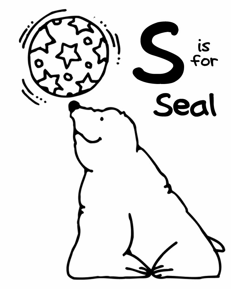 printable Alphabet Coloring Pages Seal