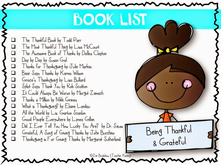Free list of picture books that will inspire your kids to be thankful.  TeacherKarma.com