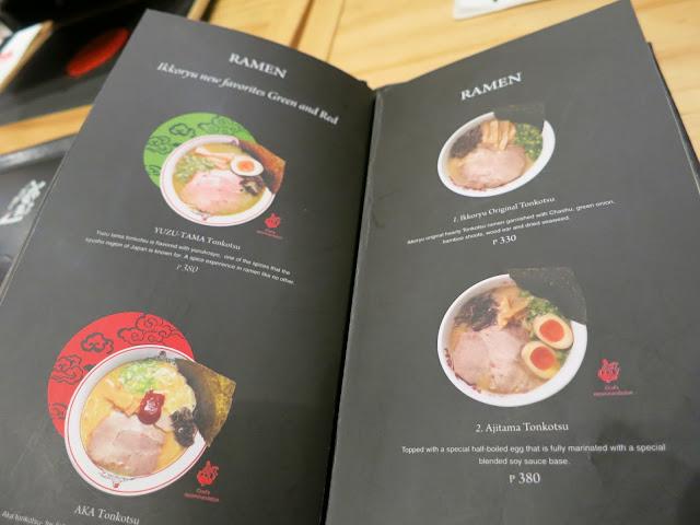 Ikkoryu Fukuoka Ramen menu, Shangri-la Plaza Mall