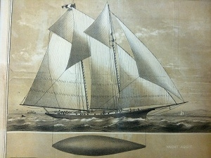 Illustration of the Aggie under sail