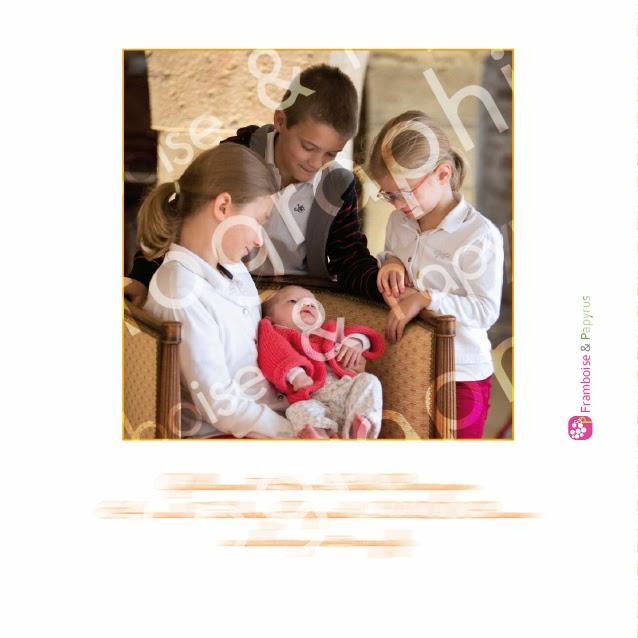 verso de faire-part de naissance avec photo de fratrie