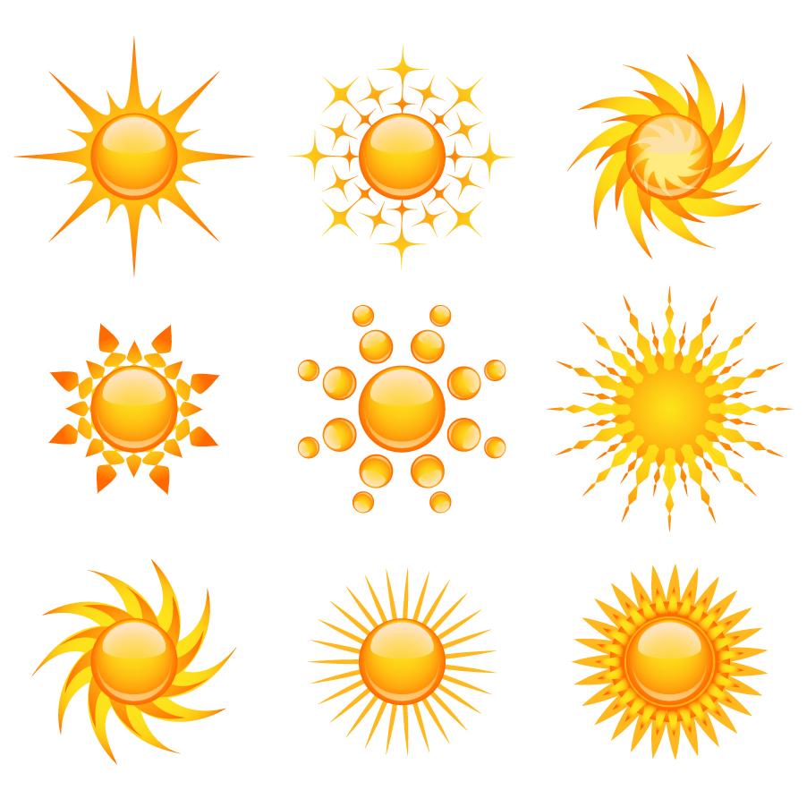 輝く太陽のアイコン practical sun icon イラスト素材4