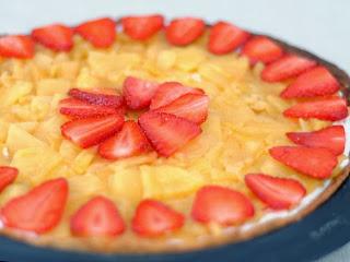 Tarte ananas, fraises, coco