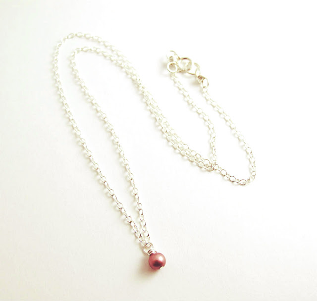 Pink Light Sterling Silver Pink Pearl Breast Cancer Awareness Necklace by Beth Hemmila of Hint Jewelry