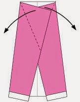 Bước 3: Gấp chéo hai cạnh giấy ra ngoài.