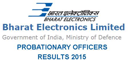 BEL PE Result 2015 Merit List for Selected candidates, BEL Probationary Officers Results 2015, Bharat Electronics Limited Prob. Engineer Result 2015, BHEL PE  21st June Exam Result 2015, www.bel-india.com PE Results 2015