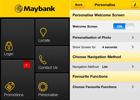 Ecrans Maybank pour iPhone