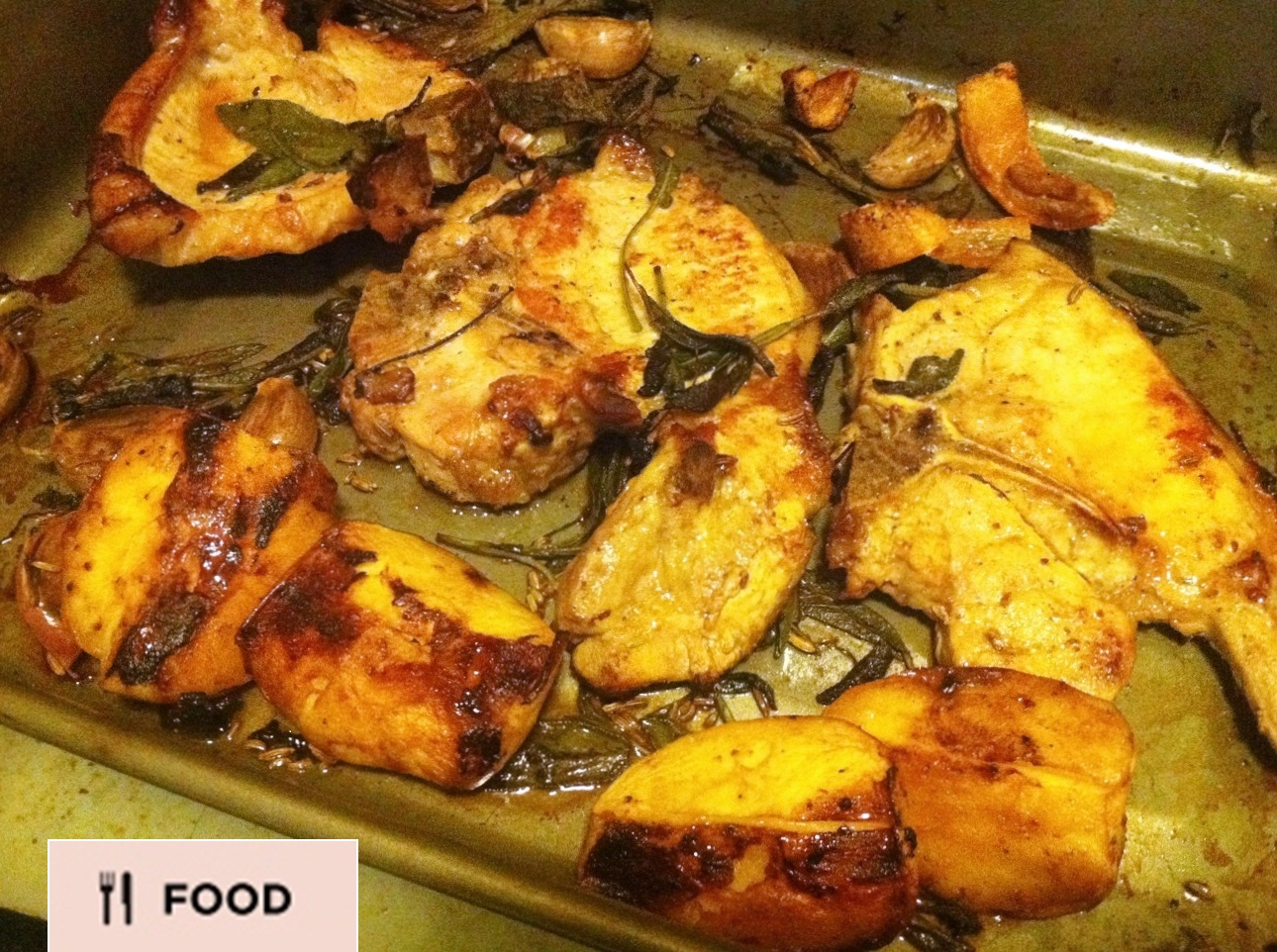 Jamie Oliver's Pork Chops With Sage, Crispy Crackling And Crushed Potatoes