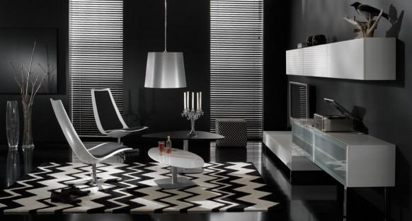 Dise o de muebles con estilo para una sala de estar oscura - Muebles sala de estar ...
