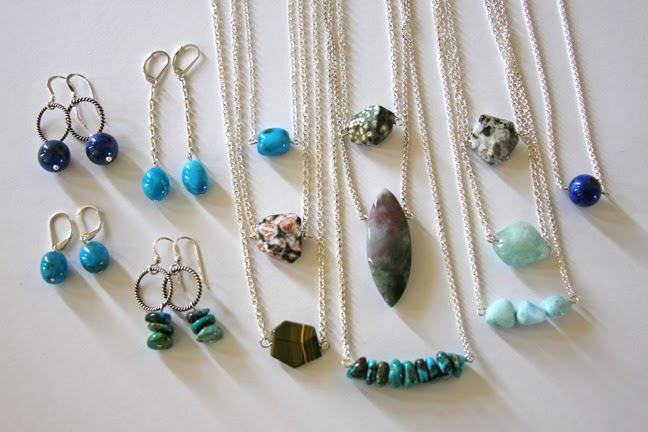 minimalist jewerly gemstones shown in photo: Arizona Turquoise, Lapis Lazuli, Ocean Jasper, Fancy Jasper, Aquamarine, Larimar