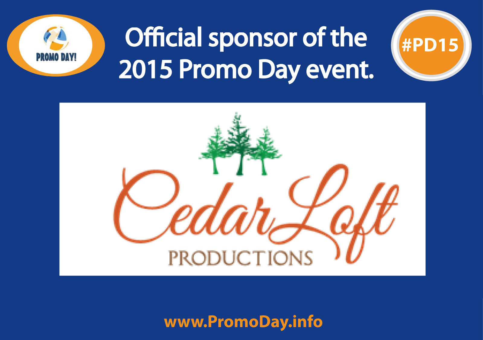 Official sponsor PD15, Promo Day, Cedar Loft Productions