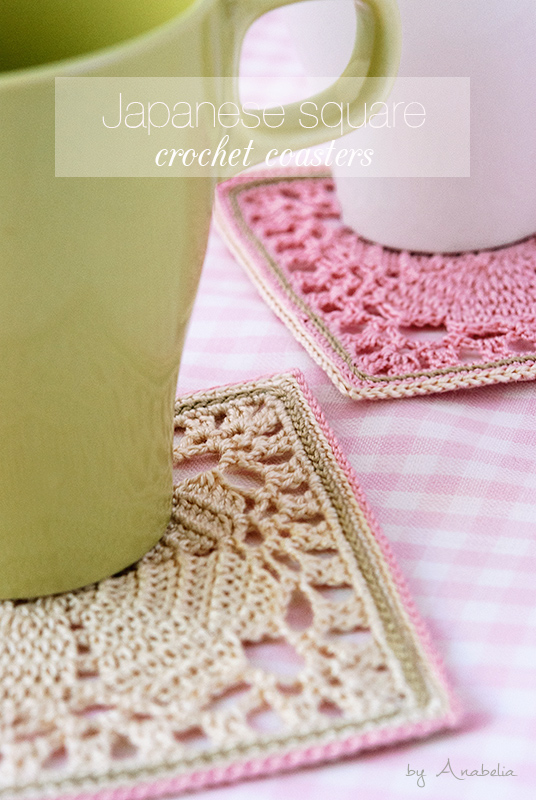 Japanese square crochet coasters by Anabelia