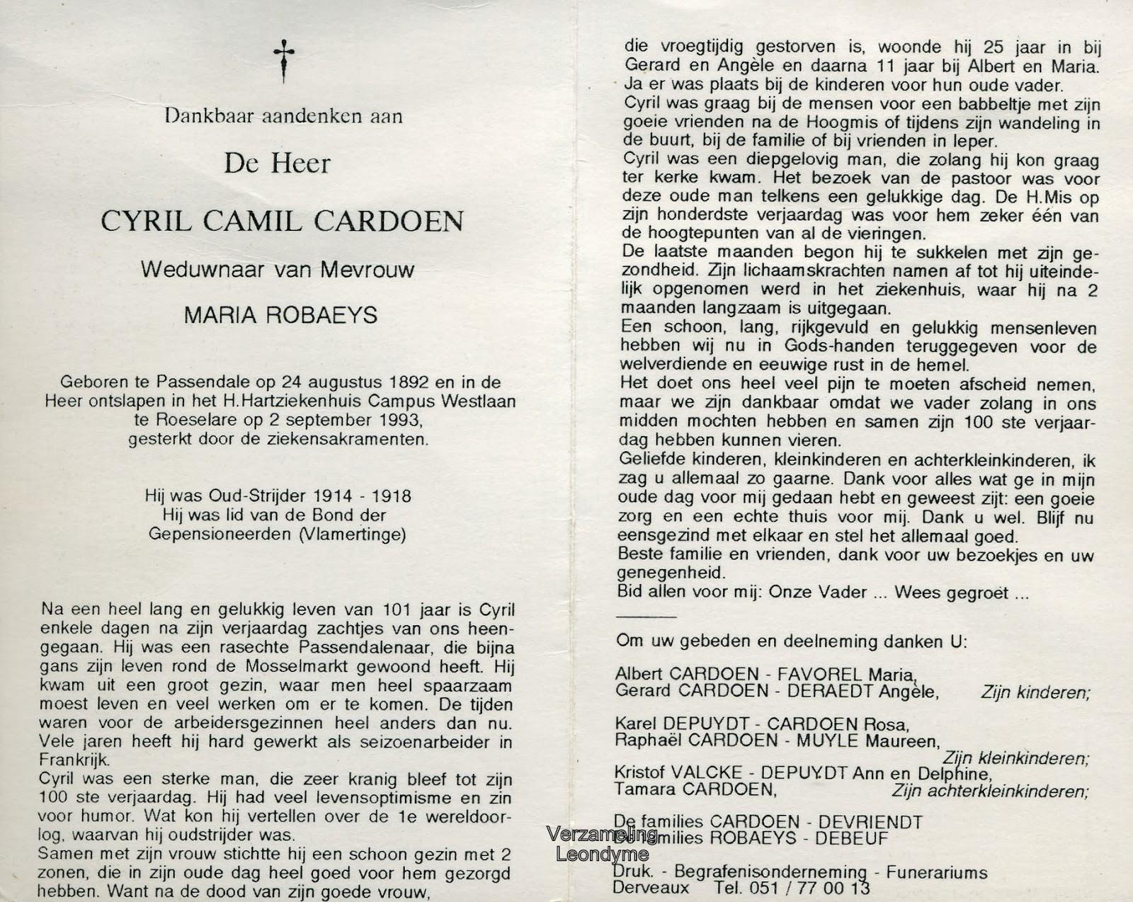 Bidprentje, Cyril Cardoen 1892-1993. Verzameling Leondyme