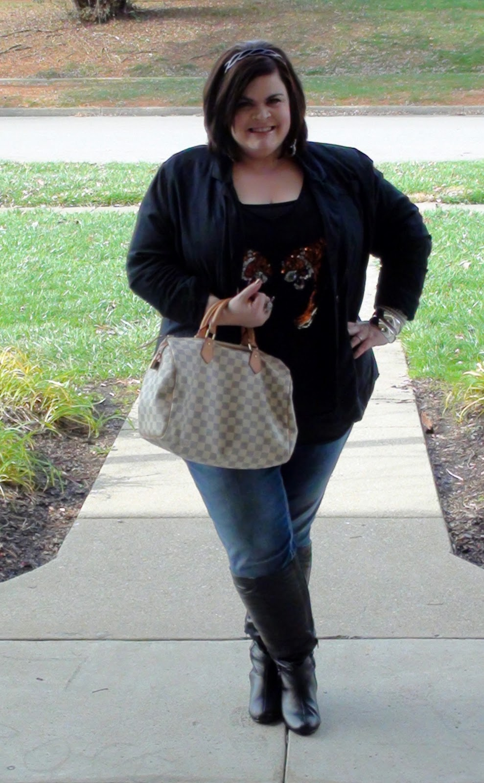 TheStyleSupreme: Plus Size OOTD- Sequins, Jeans and Riding Boots!