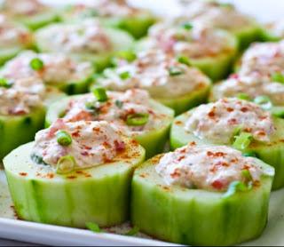 Cucumber Slices Stuffed With Salmon Salad - Yummi Recipes