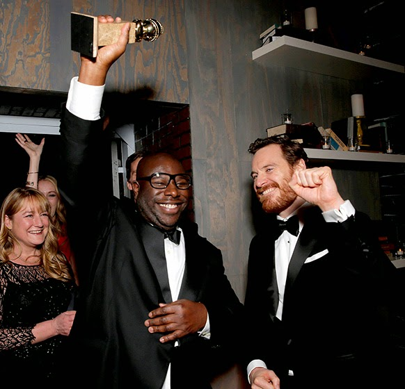 Steve McQueen and actor Michael Fassbender celebrated at the FOX after party