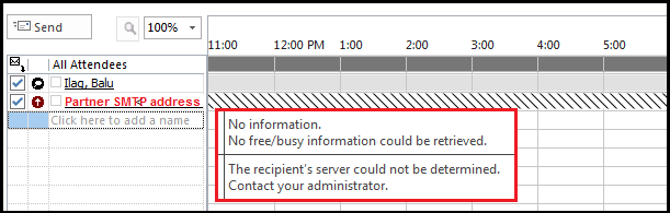 Updating schedule information retrieving free busy information from server
