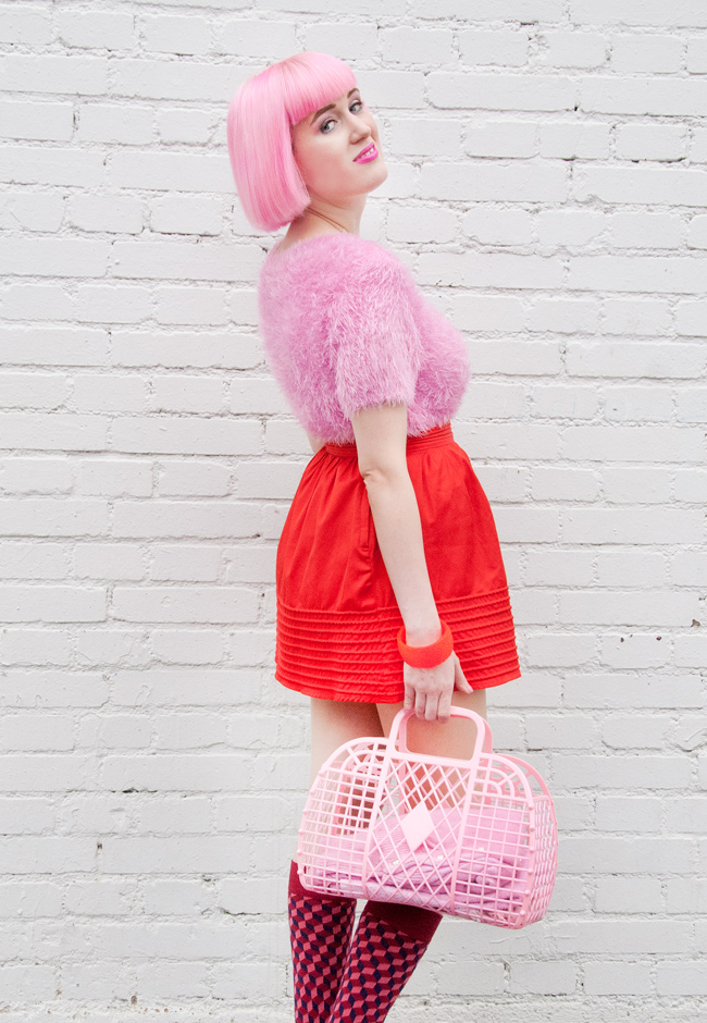 Lazy Oaf, Dilly Socks, pink and red