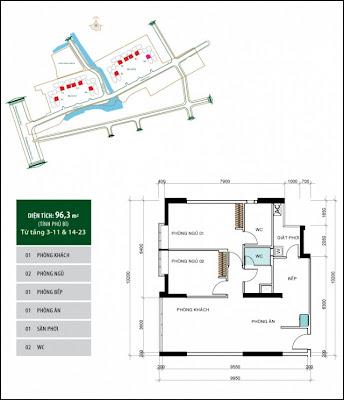 Mặt Bằng Căn Hộ: Căn hộ 96,3 m2