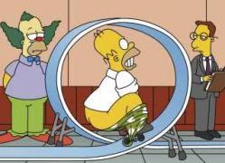 Homero Simpson payaso bicicleta pequeña bucle academia de payasos de Krusty