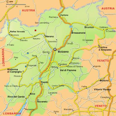 Trentino Alto Adige Mapa de Ciudad