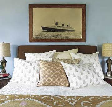 nautical bedroom with old photograph of ss normandie - Nautical Design Ideas
