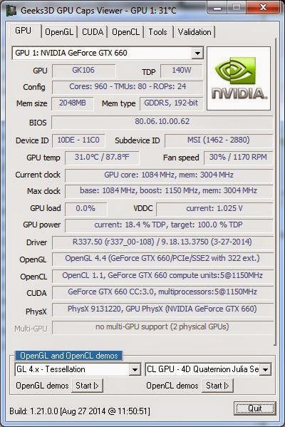 برنامج مجاني لعرض معلومات تفصيلية عن بطاقة الرسومات والجرافيك علي جهازك Portable GPU Caps Viewer 1.21.0