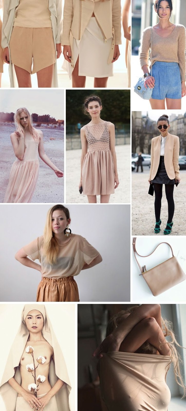 streetstyle and editorials with nude colors