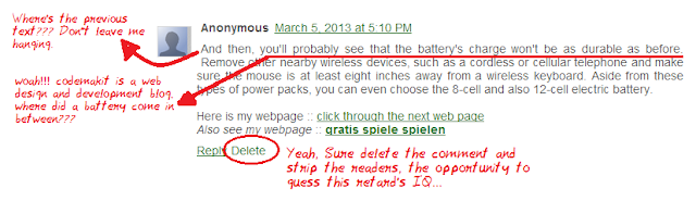 anonymous spammer has poured his heart out gargling about a battery.