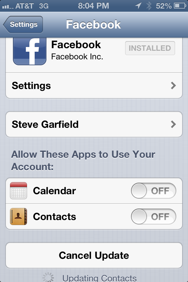 Off On A Tangent: Undo Facebook Contact Sync Nightmare in iPhone iOS 6